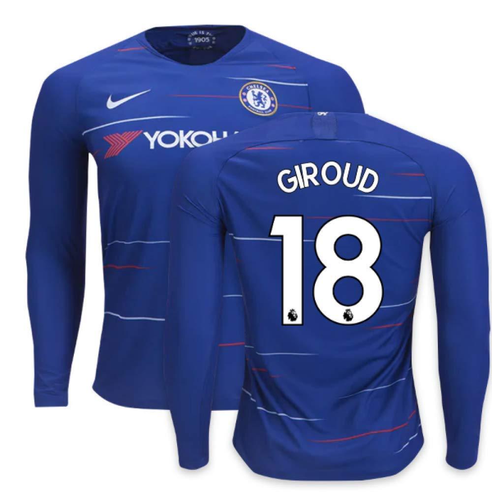 2018-2019 Chelsea Home Nike Long Sleeve Football Soccer T-Shirt Trikot (Olivier Giroud 18)