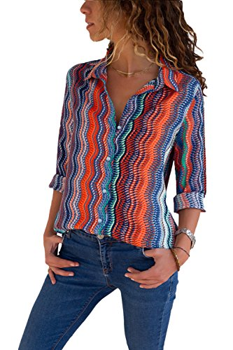 Womens Sexy V Neck Tops Floral Print Blouse Tops Color Block Button Tunic ()
