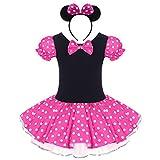 Kid Girl Minnie Costume Tutu Dress Ear Headband Outfit Summer Puff Sleeve Polka Dot Ruffle Bowknot Christmas Halloween Dress Up # Hot Pink 2-3 Years