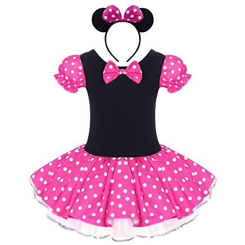 Baby Toddler Kid Girl Minnie Costume Tutu Dress Ear Headband Outfit Summer Puff Sleeve Polka Dot 1st Birthday Christmas Halloween Dress Up # Hot Pink 12-18 -