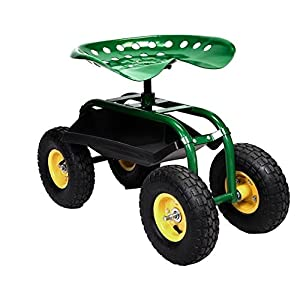 Rolling Garden Cart Work Seat With Heavy Duty Tool Tray Gardening Planting Outdoor Patio Lawn Yard Utility Wagon Buggy Scooter Adjustable 360 Degree Swivel Work Seat Pneumatic Wheel Anti UV