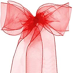 Lucky Monet 10/20/50/100 Pack Organza Banquet Chair Sash Sashes Bows Ties for Weddings Party Decoration White Pink Purple Gold Red (100, Red)