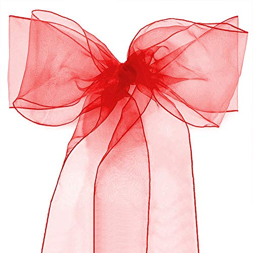 Chair Bow - Lucky Monet 10/20/50/100 Pack Organza Banquet Chair Sash Sashes Bows Ties for Weddings Party Decoration White Pink Purple Gold Red (10, Red)