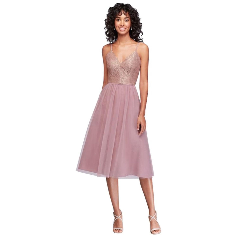 David\'s Bridal Metallic Lace and Tulle Short Bridesmaid Dress Style ...