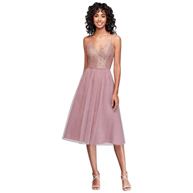 David S Bridal Metallic Lace And Tulle Short Bridesmaid
