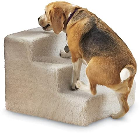 Home-X Doggy Steps, Pet Stairs (3 Step Padded Dog Stairs)