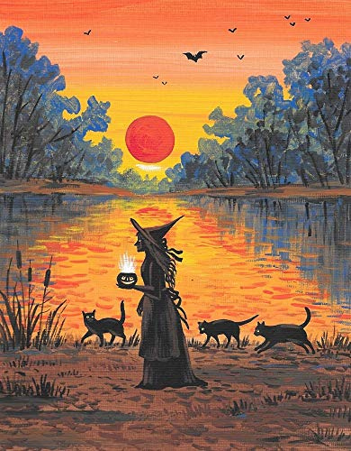 11x14 PRINT OF ORIGINAL PAINTING RYTA HALLOWEEN AUTUMN FALL SEASONAL FINE WALL ART BLACK CAT WITCH LAKE LANDSCAPE SUNSET REFLECTION SPOOKY SCARY