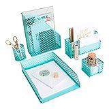 Aqua - Teal 5 Piece Cute Desk Organizer Set - Desk Organizers and Accessories for Women - Cute Office Desk Accessories - Desktop Organization