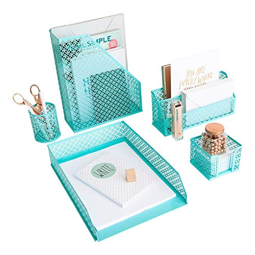 Aqua - Teal 5 Piece Cute Desk Organizer Set - Desk Organizers and Accessories for Women - Cute Office Desk Accessories - Desktop Organization
