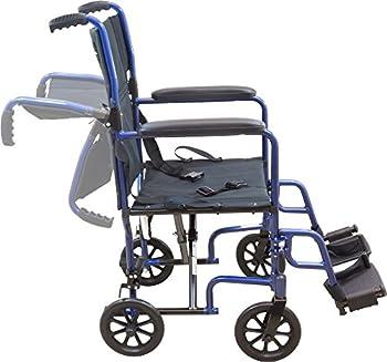 Roscoe Medical Kta1916sa-bl Aluminum Transport Wheelchair, Blue 3