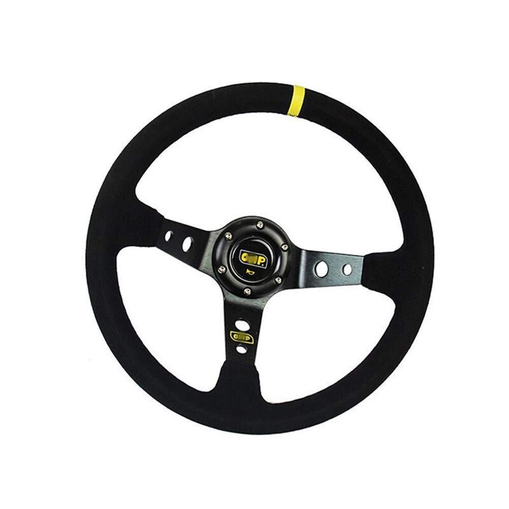 QinMei Zhou Car modified OMP steering wheel matte leather 14 inch / 350MM imitation racing competitive general steering wheel (Color : Black) by QinMei Zhou