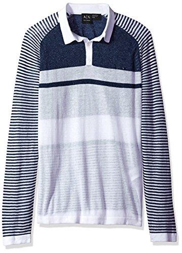 - A|X Armani Exchange Men's Linen Cotton Stripe Long Sleeve Polo, White/Navy, Medium