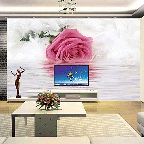 Wpchou Peinture Murale Plume Rose Réflexion Eau Photo Papier