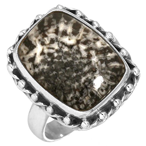 Solid 925 Sterling Silver Ring Genuine Stingray Coral Gemstone Collectible Jewelry Size 5