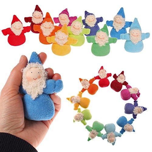 Grimm's Rainbow of Little Waldorf Dolls in Organic Cotton, Set of 10 Dwarfs with ()