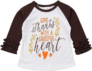 636968aa9b6 Toddler Girls Raglan Thanksgiving Baby Outfit Long Sleeve Ruffle Sleeve Tee  Shirts Blouse Tops