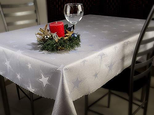 Euromat Zweiseitige Tischdecke Jacquard Weihnachten Feierlich Fleckenresistente abwaschbar Winter Gro/ße Sterne Silber Wei/ß 185 GSM Lotus-Effekt Oval /Öko-Tex Standard 100 110x160 cm