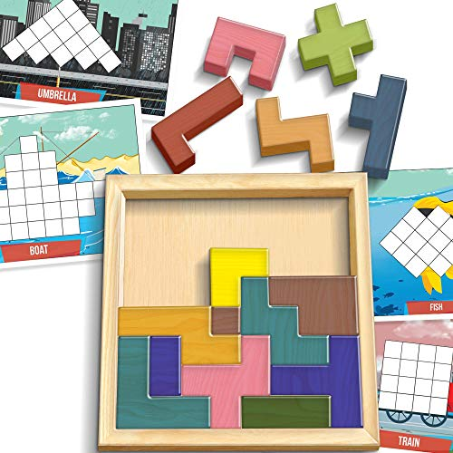 ArtCreativity IQ Building Blocks Set for Kids | Wooden Puzzle Game with 15 Blocks, 60+ Challenges and Wooden Case | Fun Educational Brain Teaser, Learning Toy for Boys and Girls, Great Gift Idea -