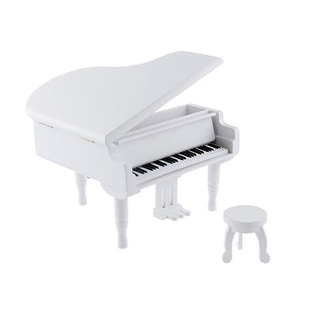 Reloj Blanco Caja De Madera Caja De Música De Piano Juego Melodía Niños Regalo Para Elise