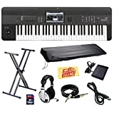 Korg KROME 61-Key Music Workstation Keyboard & Synthesizer Bundle with Keyboard Stand, SD Card, USB Cable, Instrument Cable, Dust Cover, Sustain Pedal, Headphones and Polishing Cloth
