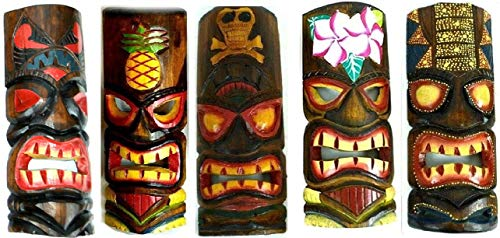 SET OF 5 HAND CARVED POLYNESIAN HAWAIIAN TIKI STYLE MASKS 12 IN TALL turtle pineapple colorful flower parrot]()