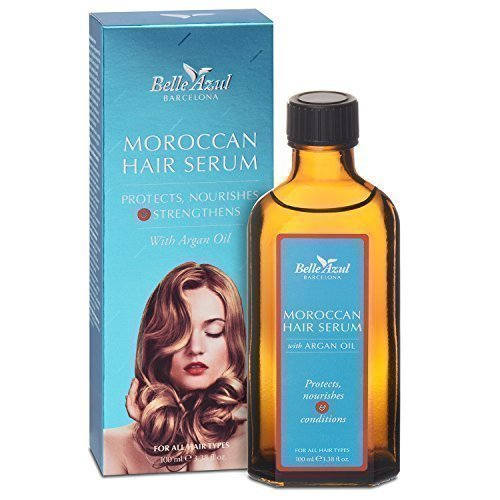 Belle Azul Moroccan Hair Serum - Haarserum mit marokkanischem Arganöl. Das perfekte Haaröl, das Ihre Haare pflegt und repariert. Verleiht kaputtem, trockenem Haar einen seidigen Glanz. Schützt vor Hitzeeinwirkung. Anti-Frizz. Für alle Haartypen geeignet. Nicht fettend. Toller Duft. (100 ml)