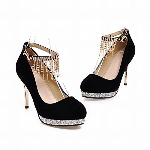 Talon Chics Haut Pompon Aiguille Femmes Chaussures Escarpins Noir De forme Talon Des Mee Plate q6zB8xW5