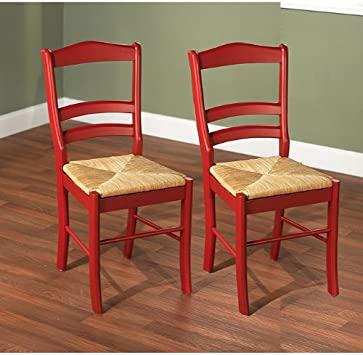 Paloma Woven Rush Seat Red Wood Finish Set Dining Room Furniture Side Chair  Pair (2 Pcs)