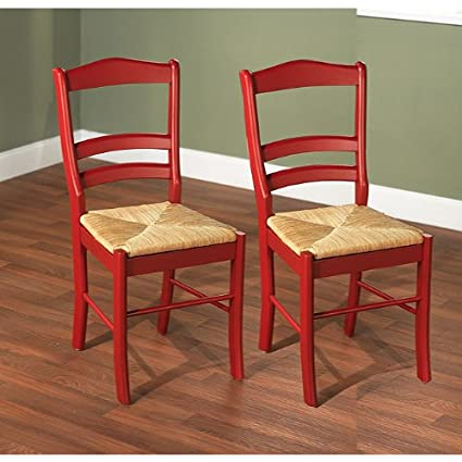 High Quality Paloma Woven Rush Seat Red Wood Finish Set Dining Room Furniture Side Chair  Pair (2