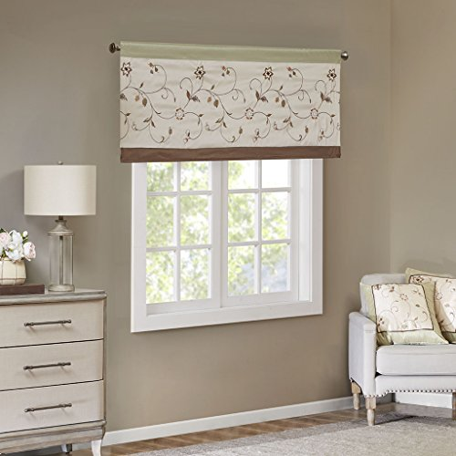 Madison Park Serene Blackout Room-Darkening Window Treatment Valances Rod Pocket/Back Tab Short Drapes, 50x18
