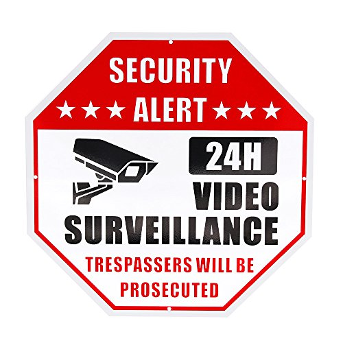 No Trespassing Sign Video Signs Surveillance Warning Sign Home Security Signs for Security Cameras Security Alert - Octagon Aluminum Sign 12 X 12 40 Mil