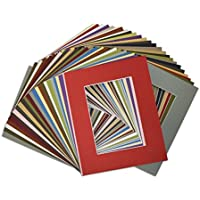 Golden State Art, Pack of 50, Acid-Free Mixed Colors Pre-Cut 8x10 Picture Mat for 5x7 Photo with White Core Bevel Cut Frame Mattes