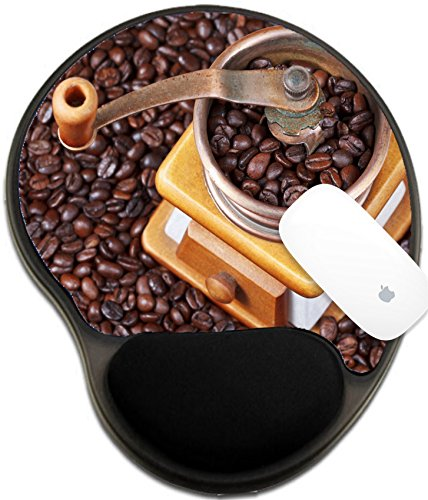 Luxlady Mousepad wrist protected Mouse Pads/Mat with wrist support design IMAGE ID: 24414273 top view of retro manual coffee grinder on many roasted coffee beans