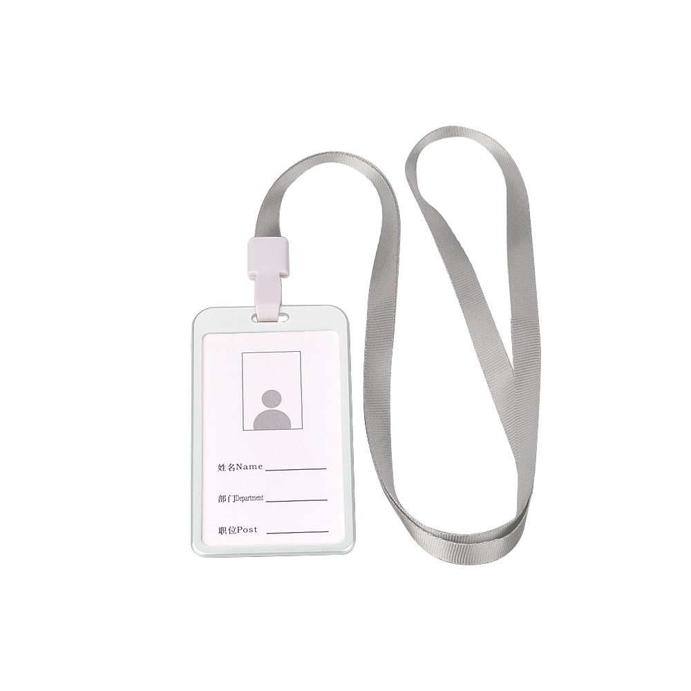 Zhi Jin Aluminum Slim ID Badge Holder with Lanyard Credit Card Sleeves Protectors Organizer Case Neck Strap Office School Pack of 6 Silver