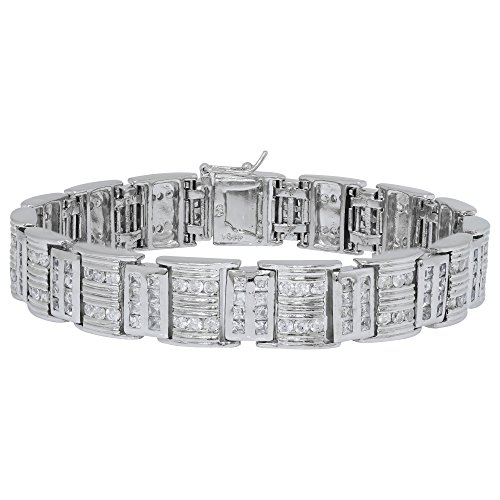 Sterling Silver Princess Bracelets (Men's Fancy Sterling Silver .925 Bracelet with Channel-Set Princess and Round Cubic Zirconia (CZ) Stones, Box Lock, Platinum Plated. Sizes 8