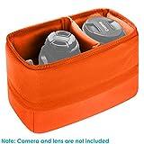 Neewer® Shockproof Storage Camera Bag Foldable Padded Partition Insert Protective Bag for Sony Canon Nikon DSLR Shot or Flash Light (Orange)