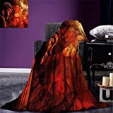 smallbeefly Zen Digital Printing Blanket Eastern Religious Figure Abstract Backdrop Asian Ethnicity Meditation Peace Summer Quilt Comforter Burgundy Red Orange