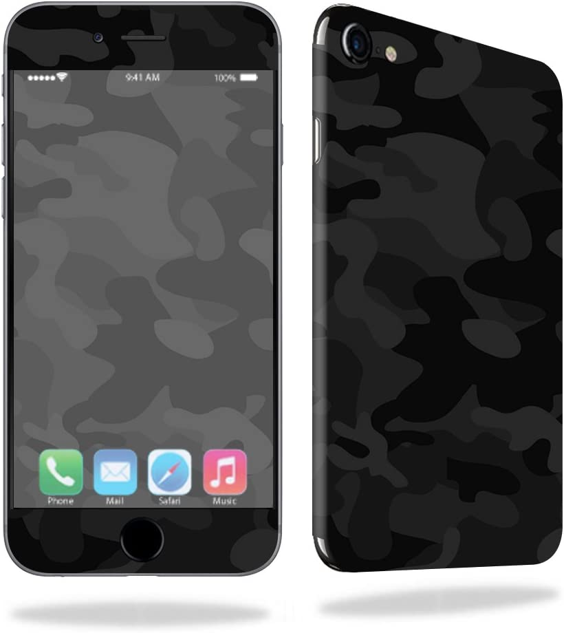MightySkins Skin Compatible with Apple iPhone SE (2020) / 7/8 - Black Camo | Protective, Durable, and Unique Vinyl Decal wrap Cover | Easy to Apply, Remove, and Change Styles | Made in The USA