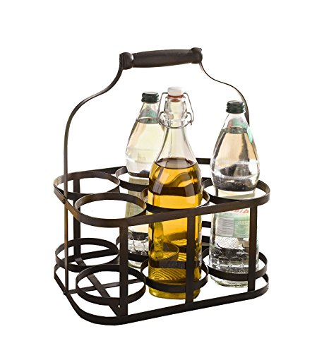 6-Bottle Metal Rack Basket Caddy Holder, Wine Carrier with Wood Handle Product SKU: HD222048