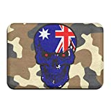 Australian Flag Skull Indoor Outdoor Entrance Rug Non Slip Bath Mat Doormat Rugs Home
