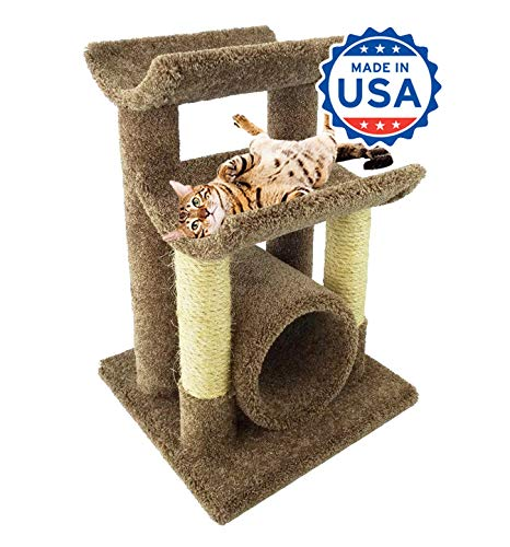 CozyCatFurniture 30″ Carpet Cat Furniture Tree | Two Large Cradles & Tube | Two Sisal Scratching Posts | Brown Carpet