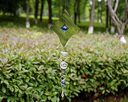 3D Crystal Metal Hanging Wind Spinner//Wind Chime Ball Garden Ornament Green