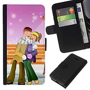 All Phone Most Case / Oferta Especial Cáscara Funda de cuero Monedero Cubierta de proteccion Caso / Wallet Case for LG OPTIMUS L90 // Couple Warm Winter Love Romance Art Park