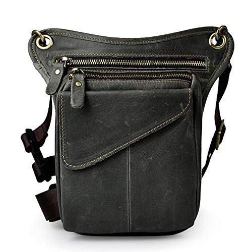 - Hebetag Vintage Leather Waist Pack Drop Leg Bag for Men Women Belt Bumbag Multi-Purpose Motorcycle Bike Outdoor Sports Tactical Cycling Riding Hiking Camping Deep Gray