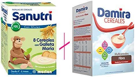 PACK DAMIRA MULTICEREALES FIBRA+ SANUTRI CEREALES CON GALLETA: Amazon.es: Belleza