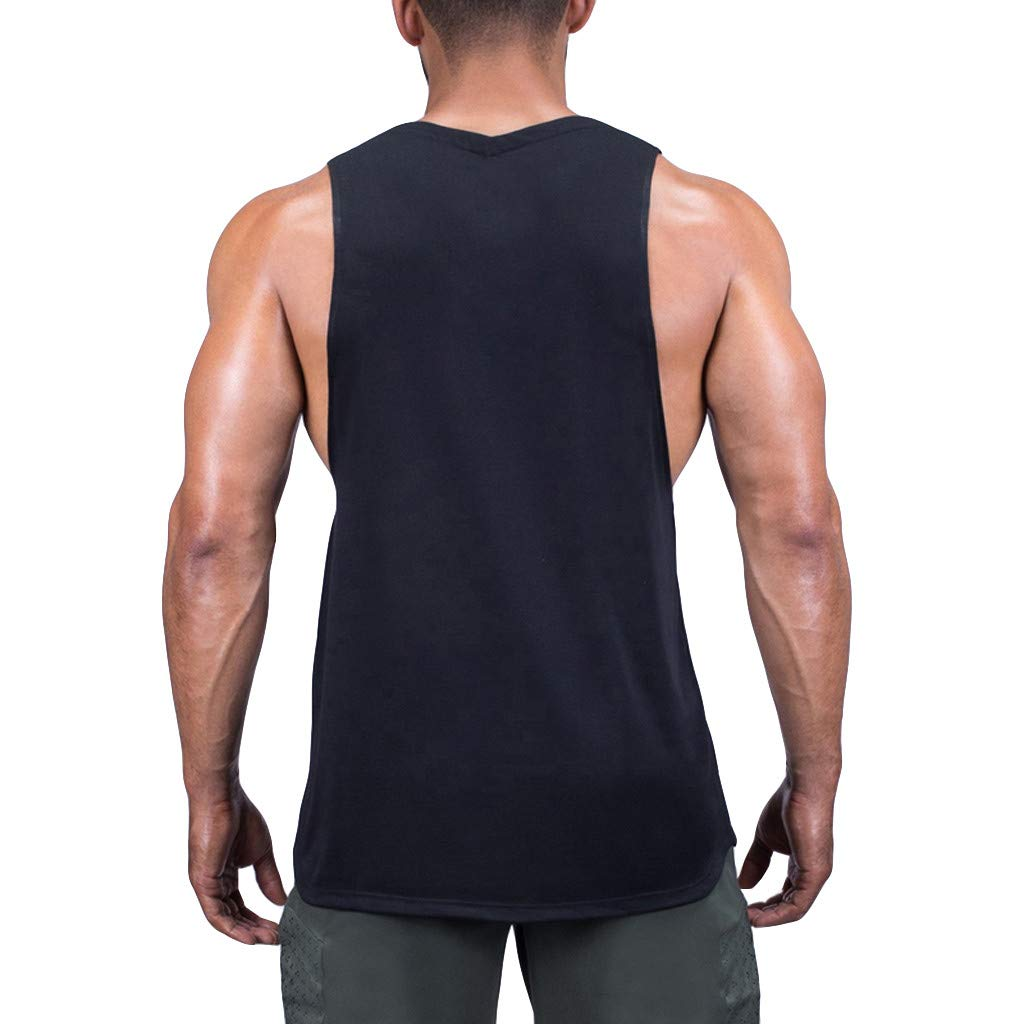 Men Tank Tops Workout Summer Casual Fashion Fitness Pure Color Breathable Sports Vest Top Blouse by Dainzuy Black by Dainzuy Men Tops (Image #3)