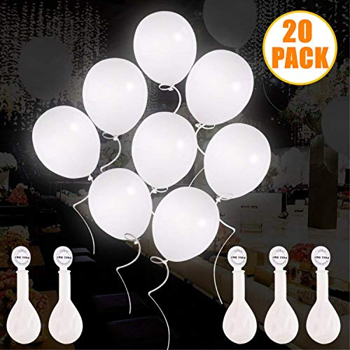 White LED Light Up Balloons, Premium Mixed-Colors Flashing Party Lights Lasts 12-24 Hours for Valentine Party, Birthday, Wedding, Festival, Club, Bar, Concert 20 Packs ()