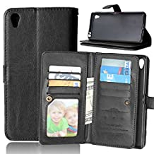 Xperia Z5 Premium Case,Gift_Source [Black] 9 Credit Cards Slot Magnetic PU Leather Folio Wallet Leather Case Flip Folio Case Built-in Credit Card Holder Case for Sony Xperia Z5 Premium / Z5 Plus 5.5""