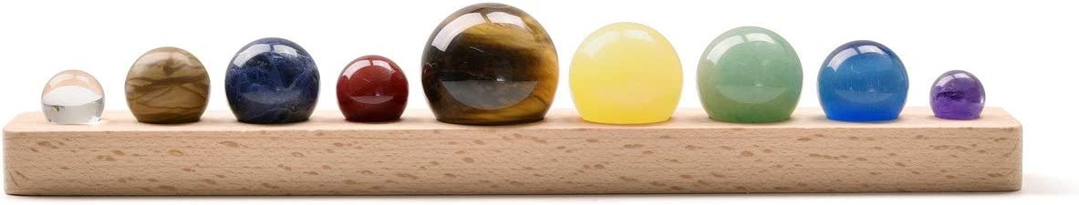 JOVIVI Solar System 9 Planets Decorations Chakra Healing Crystal Sphere Ball Collective Figurines Handmade Natural Gemstone on Wooden Stand Display Home Office Decorations