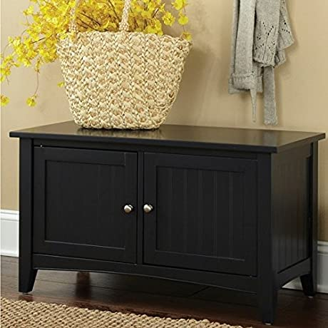 Storage Bench With 2 Doors In Black Finish Provides Room For Your Stuff Home Storage Chest Home And Office Organizer Wooden Bench Bundle With Expert Guide Quality In Our Life